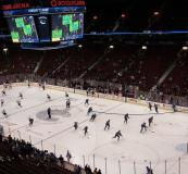 Options Language Skills Instructor Brandon Koo and Options Volunteer Support Worker Alysha Baratta, took a number of youth students to a Vancouver Canucks game (tickets courtesy of Options).
