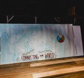 """Hand-made world map, """"Connecting Our World."""""""