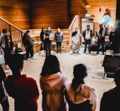Kwantlen elder, Kevin Kelly, leads a drumming circle in the Kwantlen First Nation longhouse.